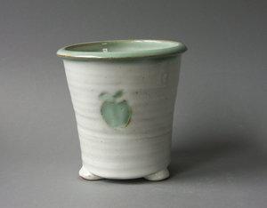 Bestickkruka diskställ av keramik